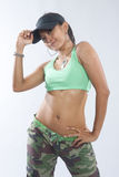 Woman hip hop dancer in dance outfit Stock Photos