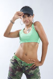 Woman hip hop dancer in dance outfit Stock Image