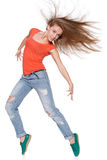 Woman hip hop dancer over white background Royalty Free Stock Photography