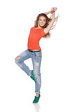 Woman hip hop dancer over white background Royalty Free Stock Image
