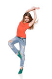 Woman hip hop dancer over white background Stock Image