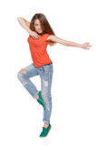 Woman hip hop dancer over white background Royalty Free Stock Images