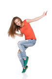 Woman hip hop dancer over white background Stock Photography
