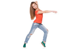 Woman hip hop dancer over white background Stock Photos