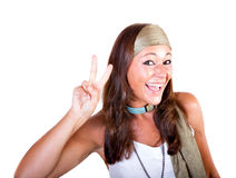 Woman hippie gesturing peace Stock Images