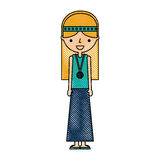 Woman hippie lifestyle character. Vector illustration design Royalty Free Stock Photos