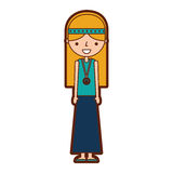 Woman hippie lifestyle character. Vector illustration design Stock Images