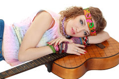 Woman in hippie outfit laying Stock Photos