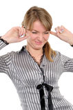 Woman with his hands covering his ears Royalty Free Stock Images