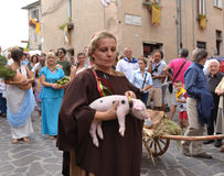 Woman in historical costume with piglet Royalty Free Stock Images