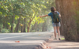 Woman hitchhiker  with backpack sign thumb on highway road. Woman hitchhiker with backpack sign thumb up on highway road with sunlight on nature background Stock Images
