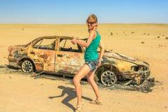 Woman hitchhiker royalty free stock photos