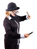 Woman hitting her phone with hammer Royalty Free Stock Photography