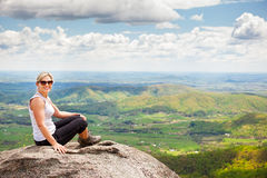 Woman Hking in Shenandoah National Park Royalty Free Stock Image