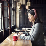 Woman Hobby Coffee Shop Listening Music Concept Stock Photography