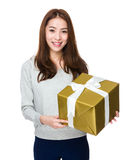 Woman hold with big gift box Stock Photos