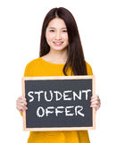 Woman hold blackboard showing the phrases of student offer. Isolated on white background Stock Image