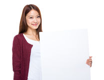 Woman hold blank board Stock Images