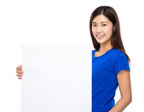 Woman hold with blank board Stock Images