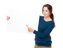 Woman hold with blank board Stock Photo