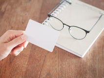 Woman hold blank business cards Stock Photography