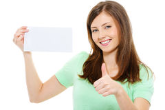 Woman hold blank card and showing thumbs-up Royalty Free Stock Photo