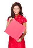 Woman hold with blank Fai Chun Stock Photo