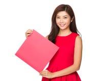 Woman hold with blank Fai chun Royalty Free Stock Image