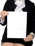 Woman Hold Blank Paper Royalty Free Stock Photo
