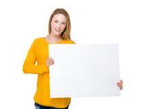 Woman hold with blank white board Stock Photo