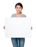 Woman hold with blank of white placard Royalty Free Stock Photos