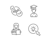 Woman hold book, Charts and Idea icons. Stock Photo