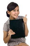 Woman Hold Book and Thumb Up Stock Images