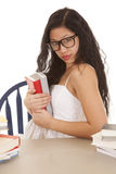 Woman hold books glasses Royalty Free Stock Photo