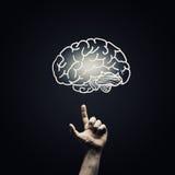Woman hold brain symbol on hand Royalty Free Stock Photo