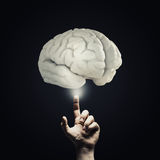 Woman hold brain symbol on hand Stock Photography