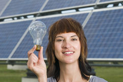 Woman hold the bulb Stock Photos