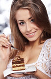 Woman hold cake Stock Photo