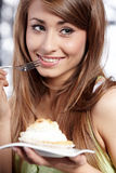 Woman hold cake Royalty Free Stock Photography
