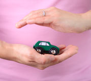 Woman hold car Royalty Free Stock Photography