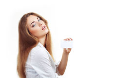 Woman hold card Royalty Free Stock Photo
