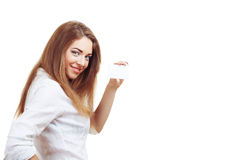 Woman hold card Royalty Free Stock Image