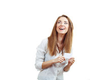 Woman hold card Royalty Free Stock Photography
