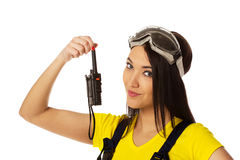 Woman hold cb radio. Stock Images