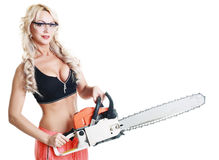 Woman hold a chainsaw. Beautiful hot blond woman hold a chainsaw over white background isolated stock photos