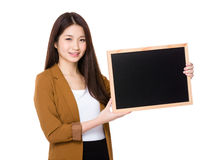 Woman hold with chalkboard stock photos