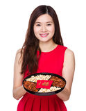 Woman hold chinese snack box Stock Images