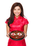 Woman hold with chinese snack tray Royalty Free Stock Images