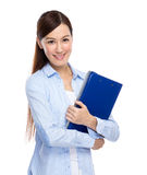 Woman hold with clipboard Stock Photo