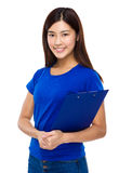 Woman hold with clipboard Royalty Free Stock Photography